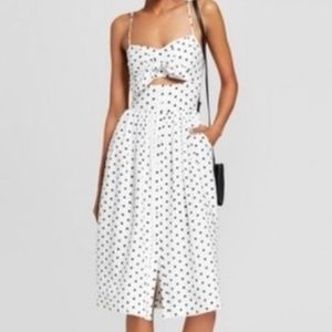 Xhilaration Cut-Out Polka Dot Midi Dress Size M
